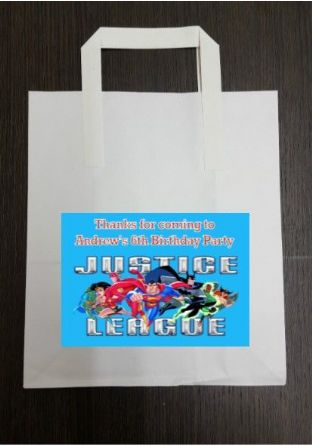 4 x Justice League Birthday Party Bags with Personalised Sticker
